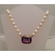 SOLD  CULTURED PEARL STRAND, AMETHYST set CLASP