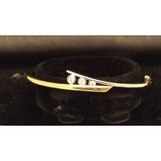 18ct YELLOW and WHITE GOLD DIAMOND BANGLE