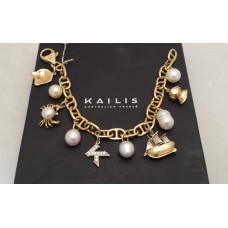 SOLD  KAILIS 18ct GOLD, CULTURED PEARLS and DIAMONDS BRACELET