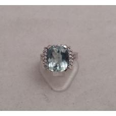 SOLD  18ct WHITE GOLD, AQUAMARINE and DIAMOND RING
