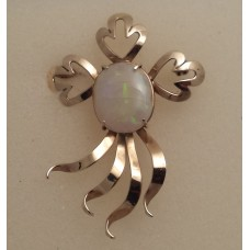 9ct GOLD, SOLID OPAL BROOCH