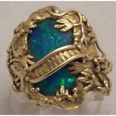 SOLD  18ct GOLD BLACK OPAL RING