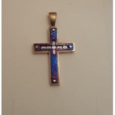 14ct GOLD, DIAMONDS and ENAMEL CROSS