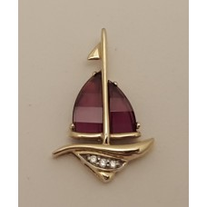 SOLD  9ct GOLD, AMETHYST and DIAMOND YACHT PENDANT