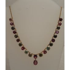 SOLD  18ct GOLD, TOURMALINE NECKLACE