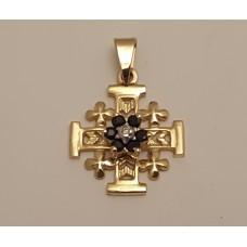 18ct GOLD, SAPPHIRE and DIAMOND CROSS