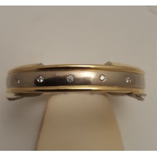 18ct YELLOW and WHITE GOLD, DIAMOND BANGLE