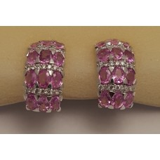 SOLD  18ct WHITE GOLD, PINK SAPPHIRE and DIAMOND EARRINGS