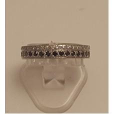 18ct WHITE GOLD, BLACK DIAMOND RING