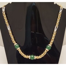 SOLD  18ct GOLD, JADE and DIAMONDS NECKLET