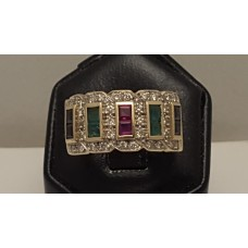 SOLD  18ct GOLD, RUBY, EMERALD, SAPPHIRE and DIAMOND RING