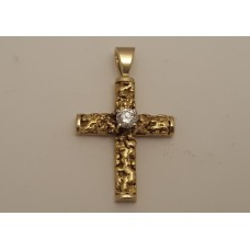 SOLD  GOLD NUGGETS, 18ct GOLD & .50ct DIAMOND CROSS