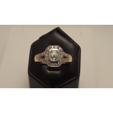 18ct GOLD, EMERALD CUT DIAMOND
