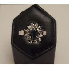 SAPPHIRE & DIAMONDS in 18ct WHITE GOLD RING