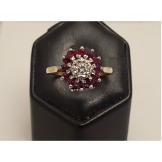 SOLD  VINTAGE 18ct GOLD RUBY & DIAMOND RING