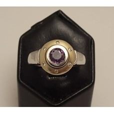 SOLD  14ct GOLD, AMETHYST & DIAMOND RING