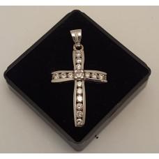 SOLD  18ct WHITE GOLD, 1 CARAT of DIAMONDS CROSS