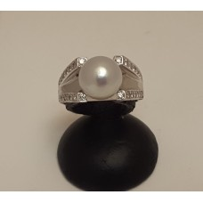 SOLD  18ct WHITE GOLD PEARL & DIAMOND RING