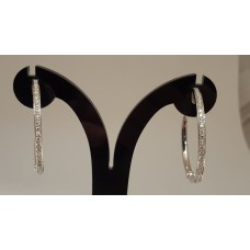 SOLD  18ct WHITE GOLD DIAMOND HOOPS