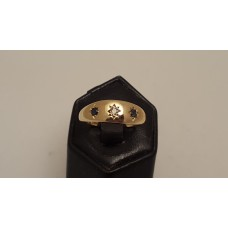 SOLD  VINTAGE ENGLISH HALLMARKED DIAMOND & SAPPHIRE RING