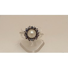SOLD  18ct WHITE GOLD AKOYA CULTURED PEARL RING