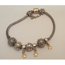 SOLD  14ct GOLD & STERLING SILVER PANDORA BRACELET WITH CHARMS