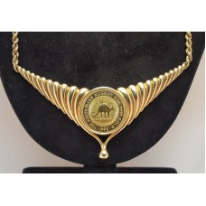 SOLD  .9999 1/2 oz. 1992 PERTH MINT AUSTRALIAN NUGGET GOLD COIN, in  18ct GOLD PENDANT