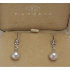 SOLD  18ct WHITE GOLD, PEARL EARRINGS