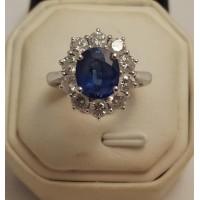 3ct NATURAL BLUE SAPPHIRE & DIAMOND CLUSTER