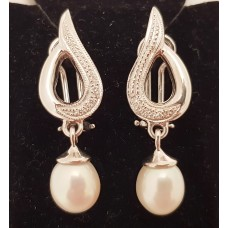 18ct WHITE GOLD, SOUTH SEA CULTURED PEARL & DIAMOND EARRINGS