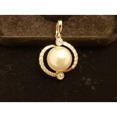 SOLD  18ct WHITE GOLD, PEARL & DIAMOND PENDANT