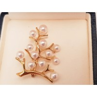 "18ct GOLD MIKIMOTO ""TREE OF LIFE"" BROOCH"