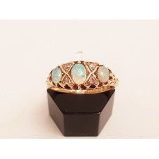 SOLD  ANTIQUE OPAL & DIAMOND RING