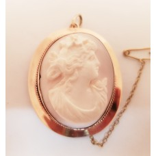 9ct GOLD, LEVINSONS of PERTH CAMEO BROOCH/PENDANT