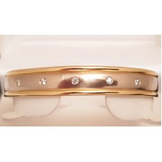 18ct YELLOW & WHITE GOLD, DIAMOND BANGLE