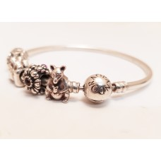 "PANDORA ""MOMENTS"" BANGLE with 5 CHARMS"