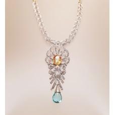 3.70ct's of DIAMONDS, CITRINE & TOPAZ NECKLACE