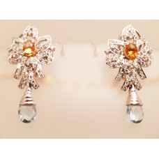 CITRINE, DIAMOND & TOPAZ EARRINGS