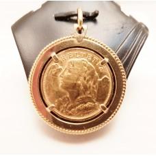 SWISS 20 FRANC GOLD COIN PENDANT