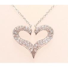 18ct WHITE GOLD, DIAMOND HEART