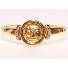 18ct GOLD & DIAMOND PANTHER HEAD BANGLE